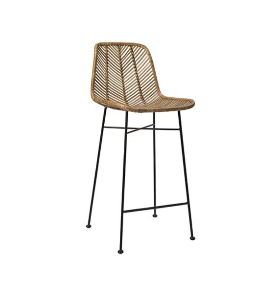 Tabouret de bar en rotin naturel bloomingville gallartdeco - Chaise de bar en osier ...